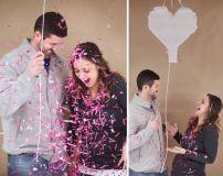 Aqui temos um caixa em forma de coração com papeis picados rosa, a caixinha fica pendurada no teto, e o casal puxa uma corda que libera os papeis coloridos!!! Gostou? foto: Casaefesta.com