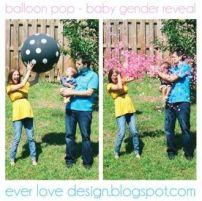 Essa montagem achei bem divertida! Um balão gigante que vai ser estourado revelando o sexo do bebê! Curtiu? Foto: Everloverdesign.blogspot.com